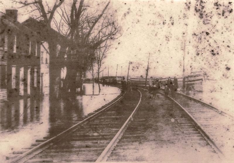 Marker detail: High Water on Front Street<br>Marietta, Pennsylvania • 1889 image. Click for full size.