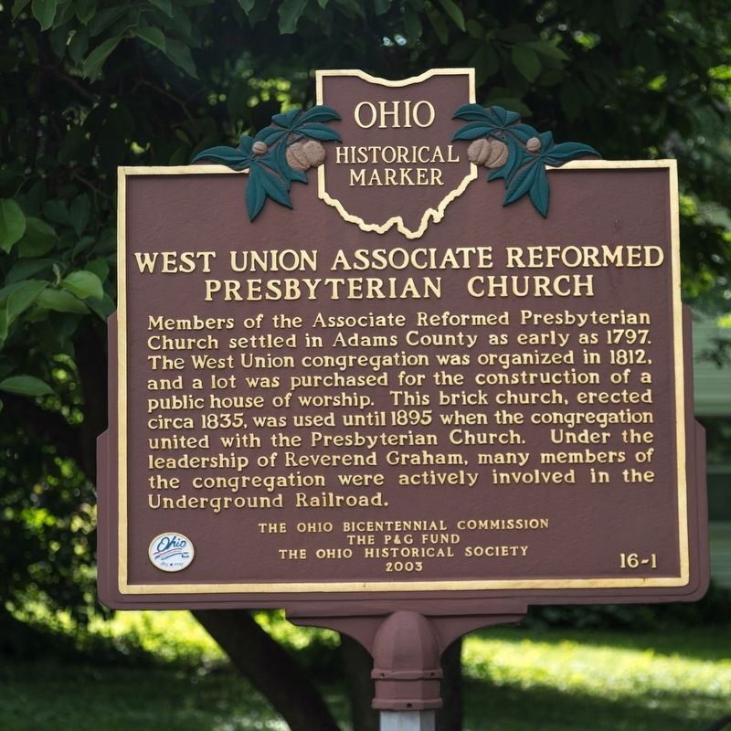 West Union Associate Reformed Presbyterian Church side of marker image. Click for full size.