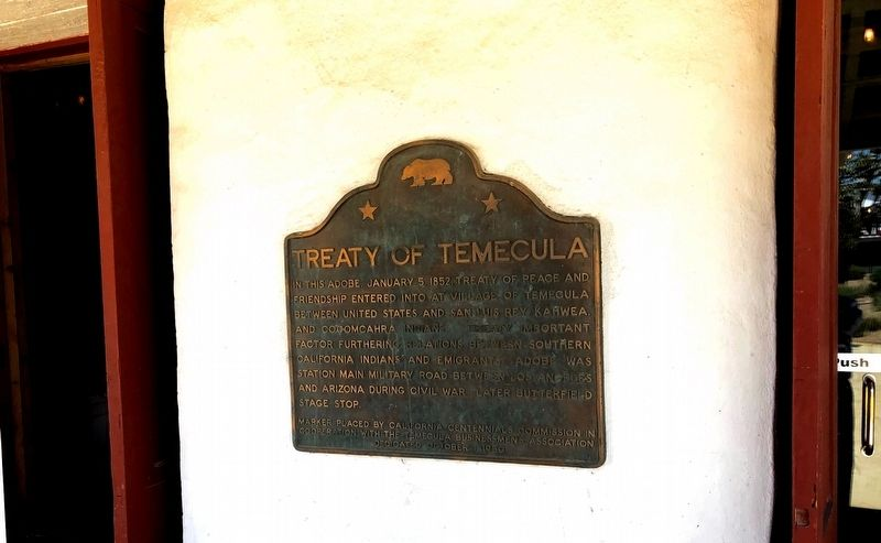 Treaty of Temecula Marker image. Click for full size.