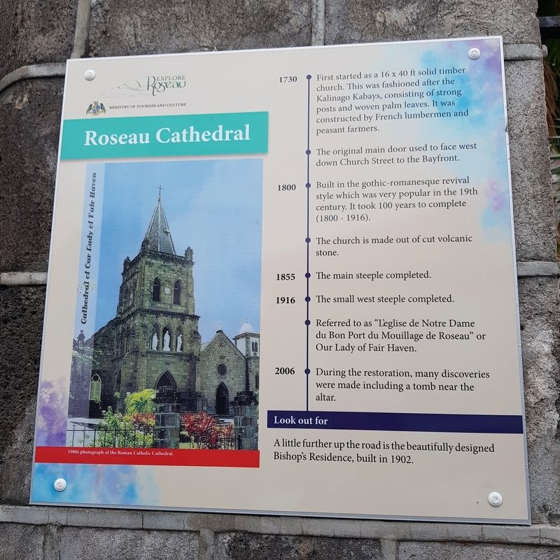 Roseau Cathedral Marker image. Click for full size.