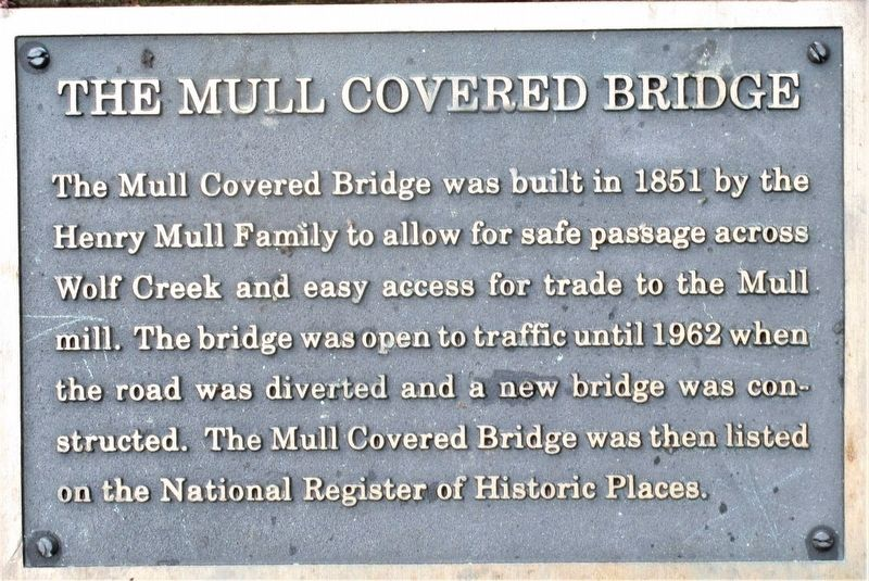 Mull Covered Bridge Marker image. Click for full size.