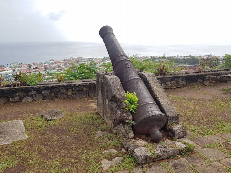 Morne Bruce Garrison cannon image. Click for full size.
