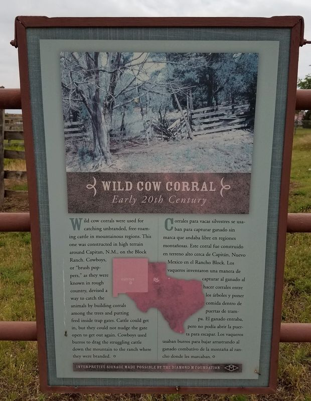 Wild Cow Corral Marker image. Click for full size.