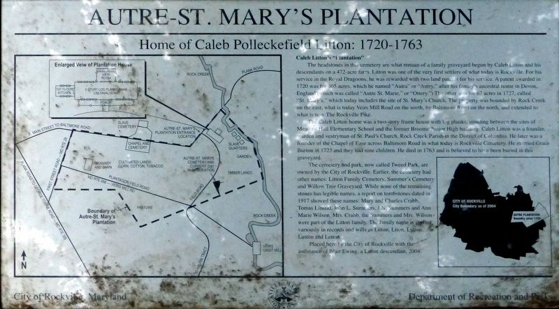 Autre - St. Mary's Plantation Marker image. Click for full size.