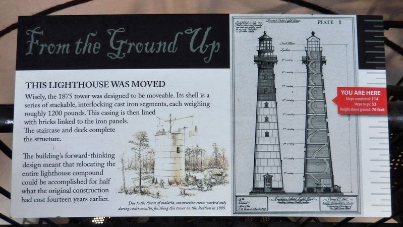 This Lighthouse Was Moved<br>(<i>interpretive panel inside lighthouse</i>) image. Click for full size.