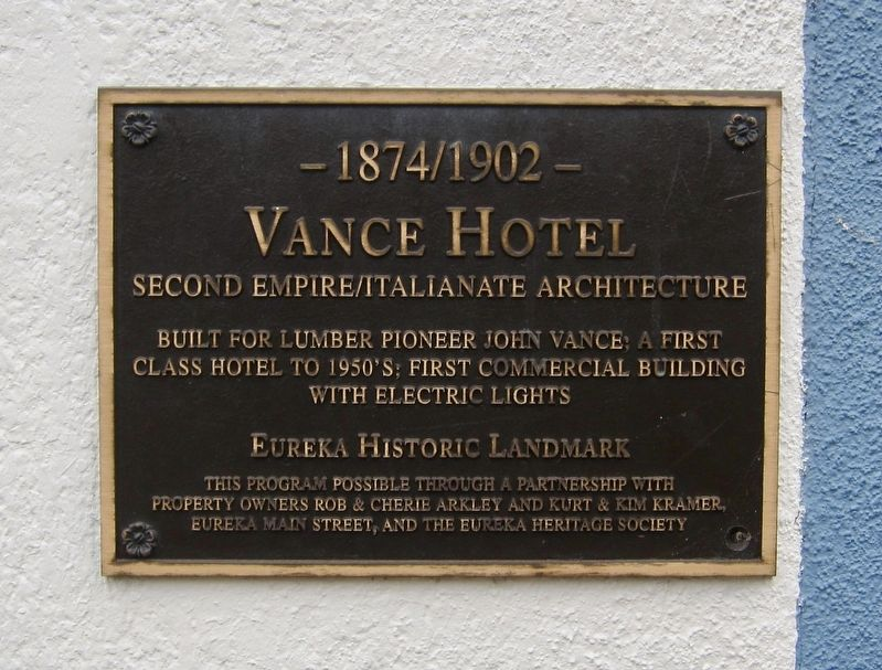 Vance Hotel Marker image. Click for full size.