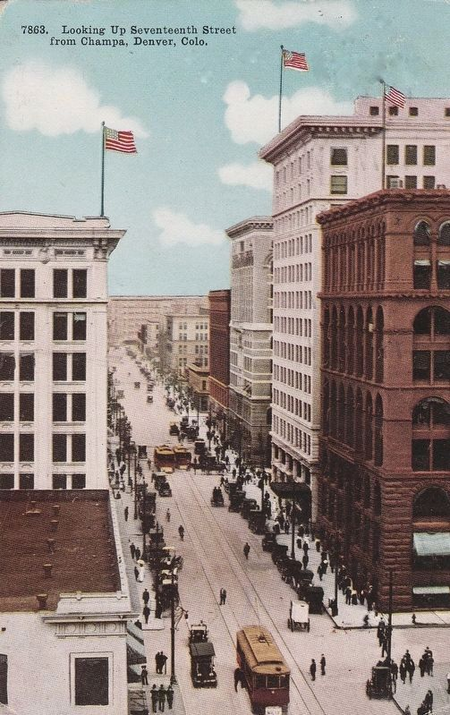 <i>Looking Up Seventeenth Street from Champa, Denver, Colo.</i> image. Click for full size.