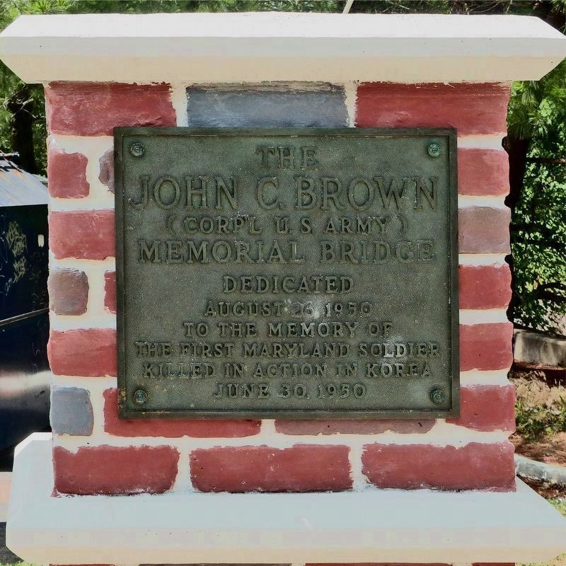 John C. Brown Memorial Bridge Marker - post-remounting image. Click for full size.