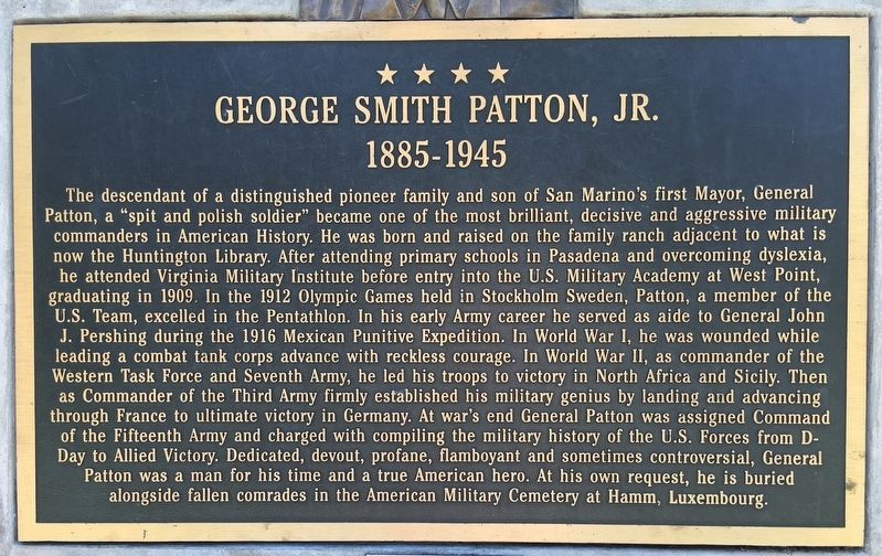George S. Patton, Jr. Marker image. Click for full size.
