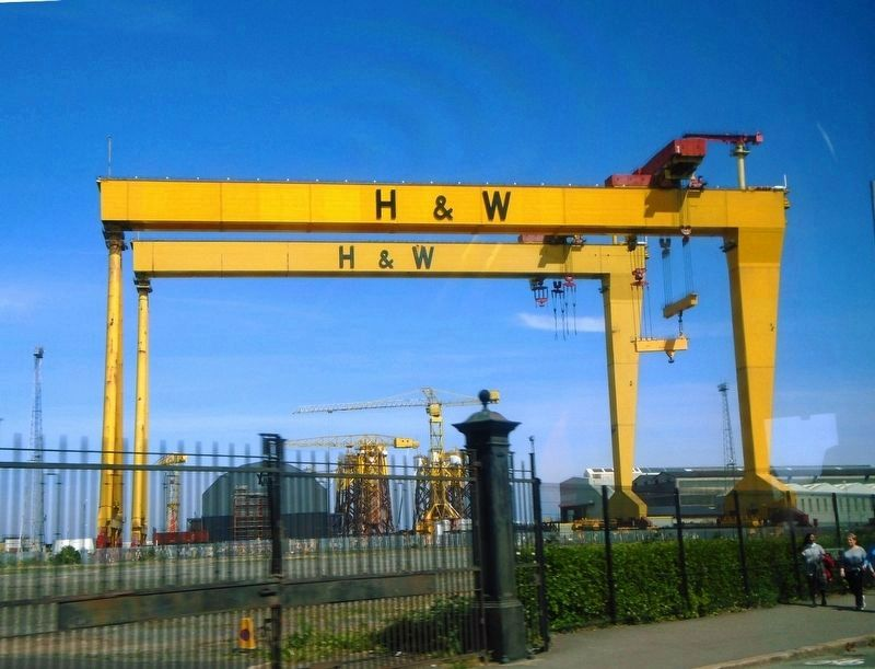 Harland and Wolff Shipyard Cranes Goliath and Samson image. Click for full size.
