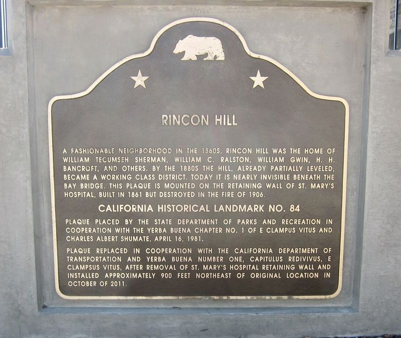 Rincon Hill Marker image. Click for full size.