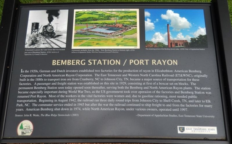 Bemberg Station / Port Rayon Marker image. Click for full size.