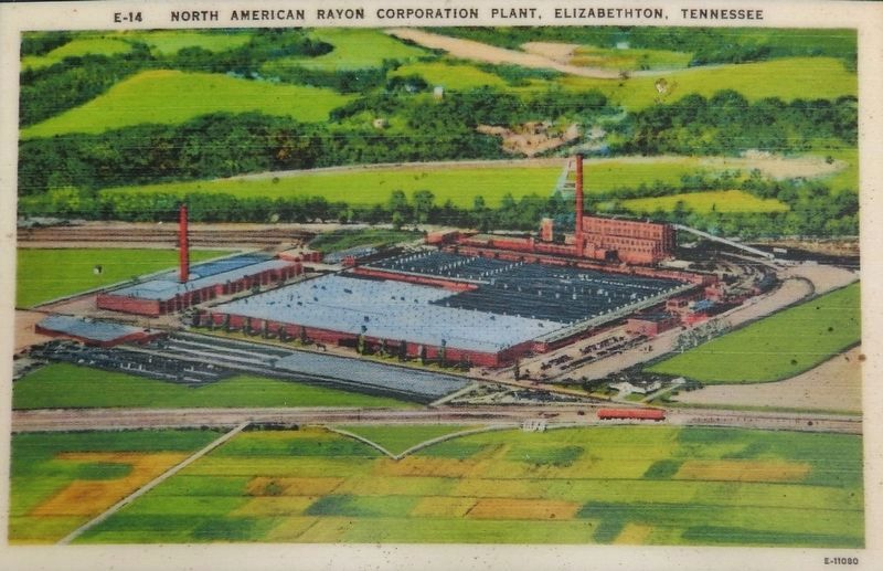Marker detail: Postcard of American Rayon Corporation, circa 1940s image. Click for full size.