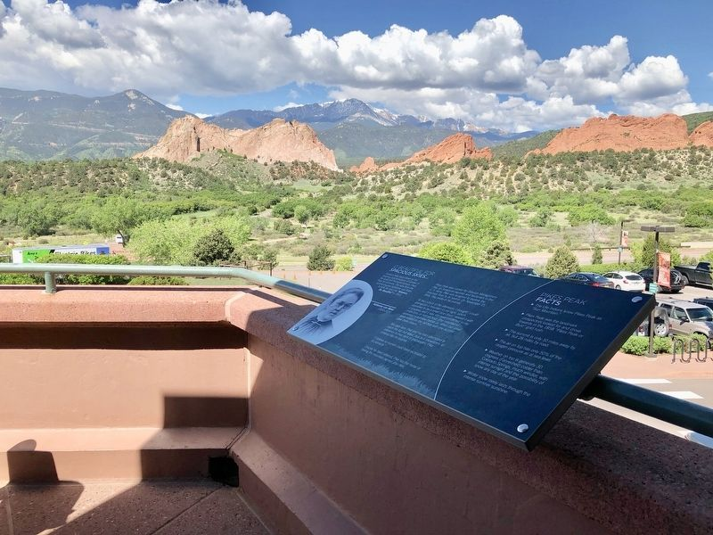 Marker, Garden of the Gods, and Pikes Peak image. Click for full size.