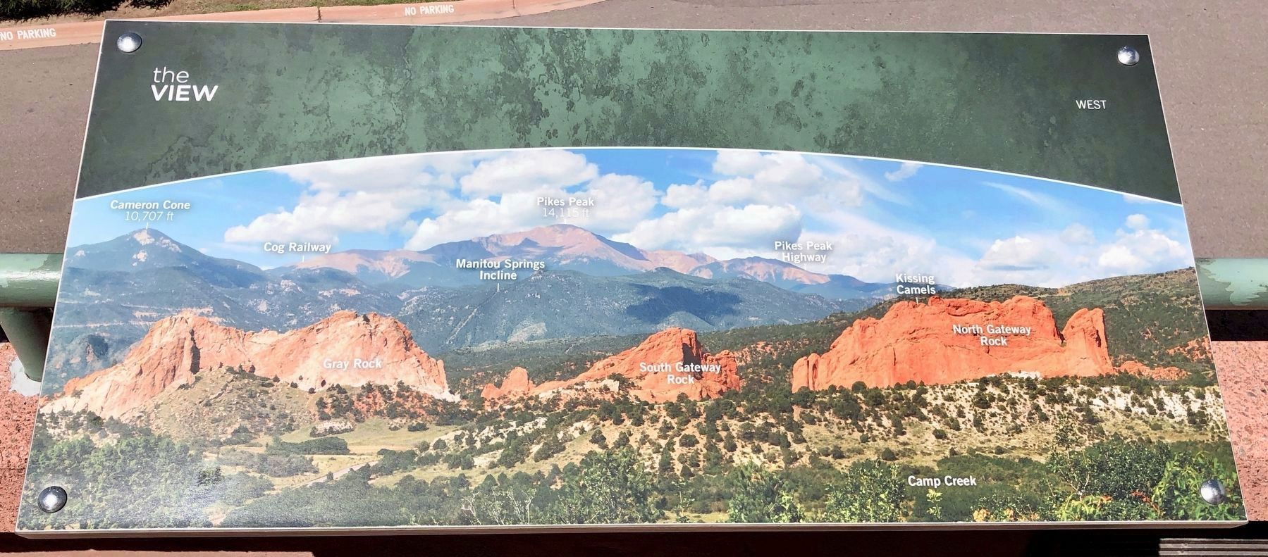 Marker view of Garden of the Gods with Pikes Peak in far background. image. Click for full size.