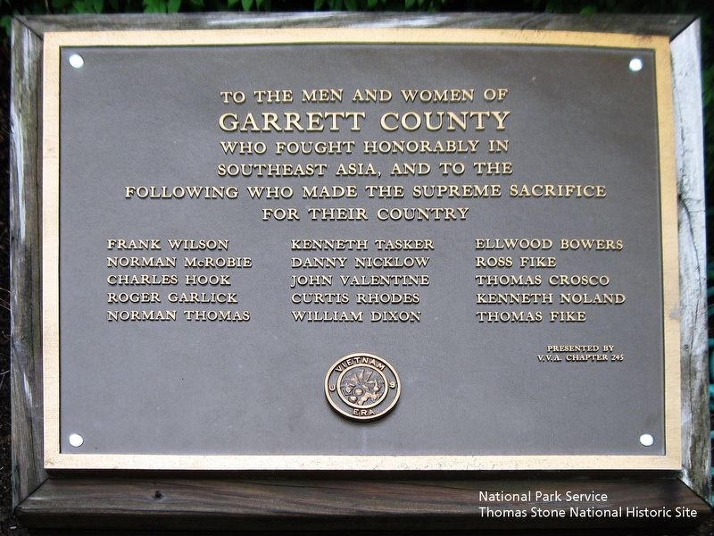 To the Men and Women of Garrett County who fought honorably in Southeast Asia Marker image. Click for full size.