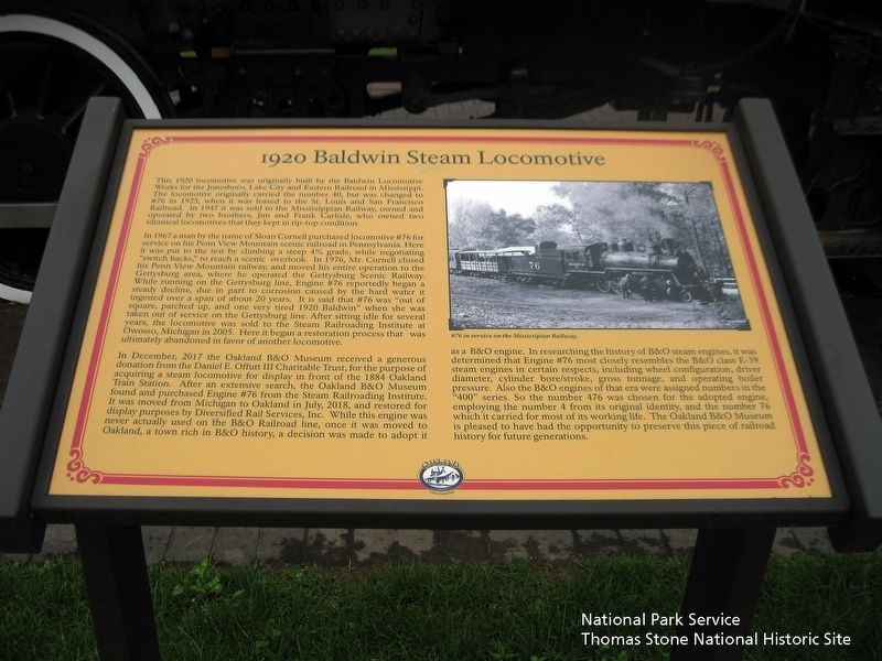 1920 Baldwin Steam Locomotive Marker image. Click for full size.