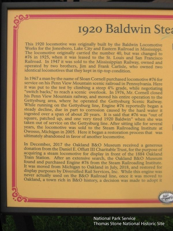 1920 Baldwin Steam Locomotive Marker (left half) image. Click for full size.