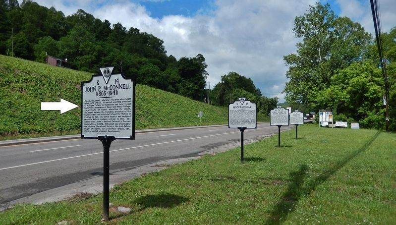John P. McConnell Marker<br>(<i>US Hwy 23 on left; 2nd from west of 5 markers at this location</i>) image. Click for full size.