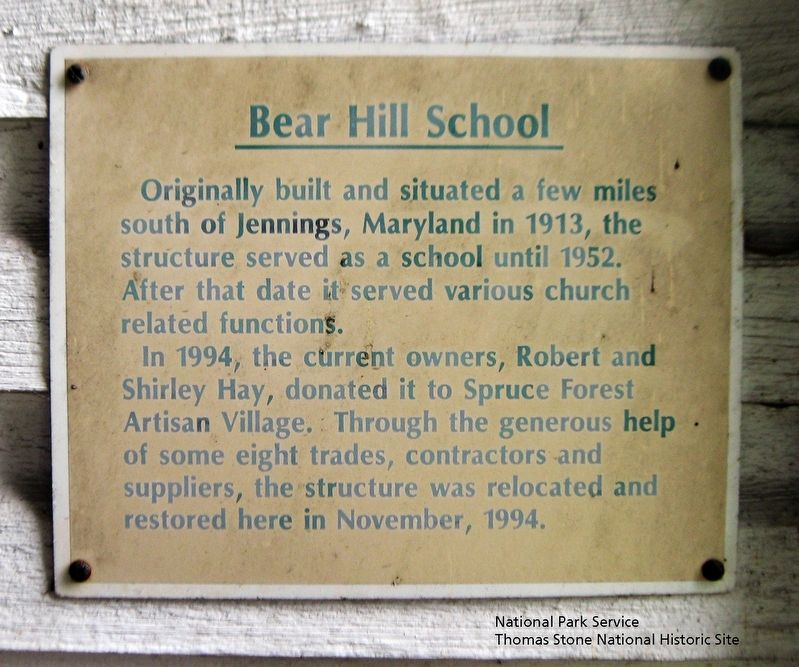 Bear Hill School Marker image. Click for full size.