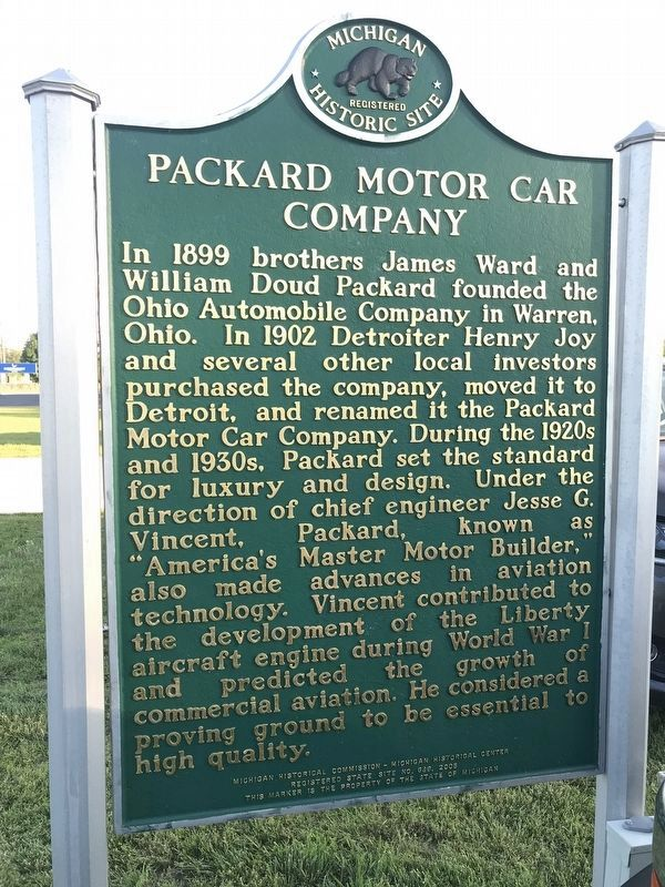 Packard Motor Car Company Marker image. Click for full size.