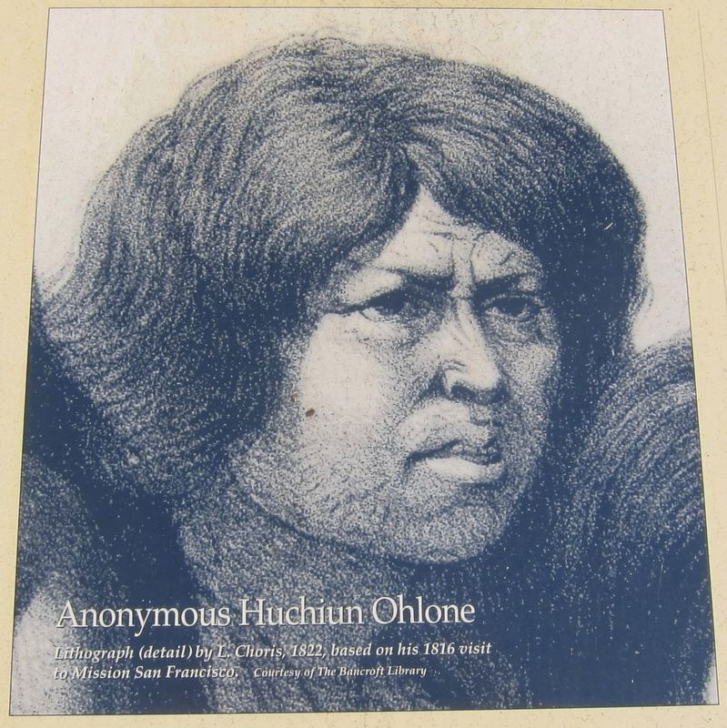 Marker inset: Anonymous Huichun Ohlone image. Click for full size.