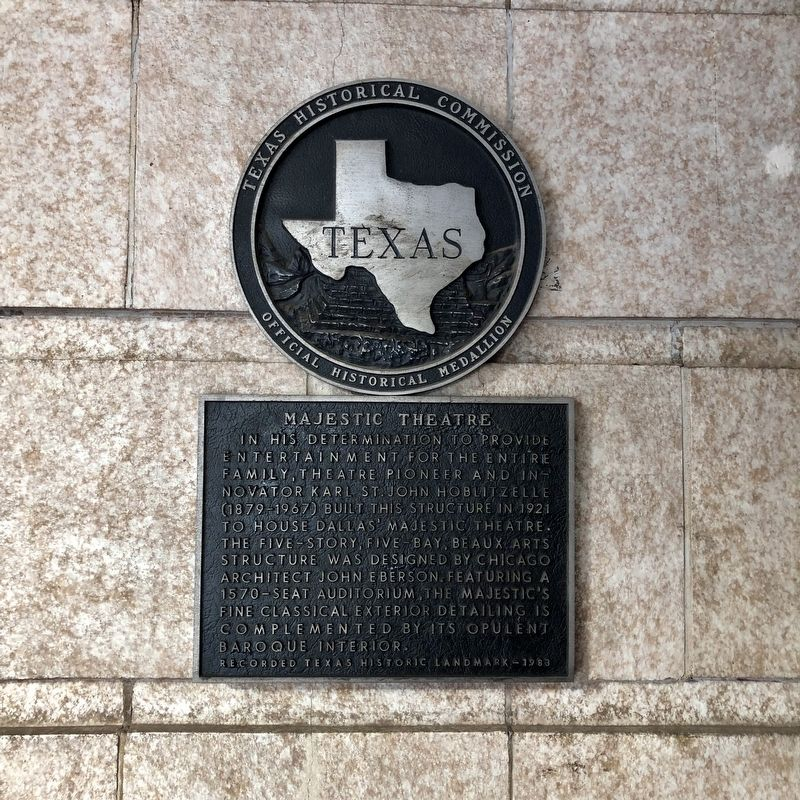 Majestic Theatre Texas Historical Marker image. Click for full size.