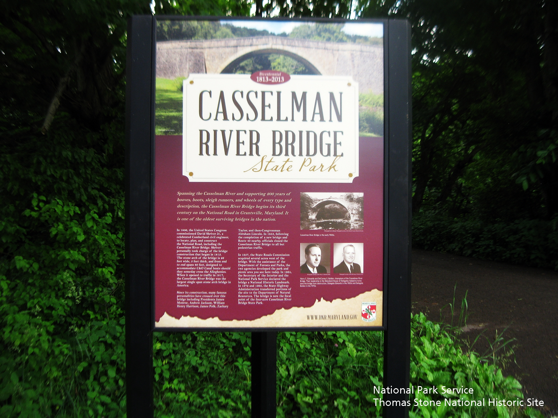 Casselman River Bridge State Park Marker at east end of bridge.