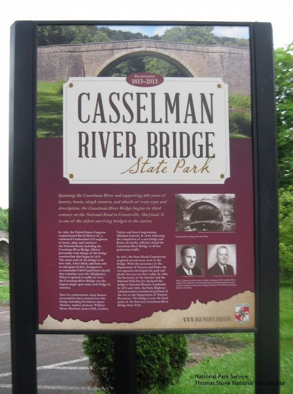 Casselman River Bridge State Park Marker at east end of bridge. image. Click for full size.