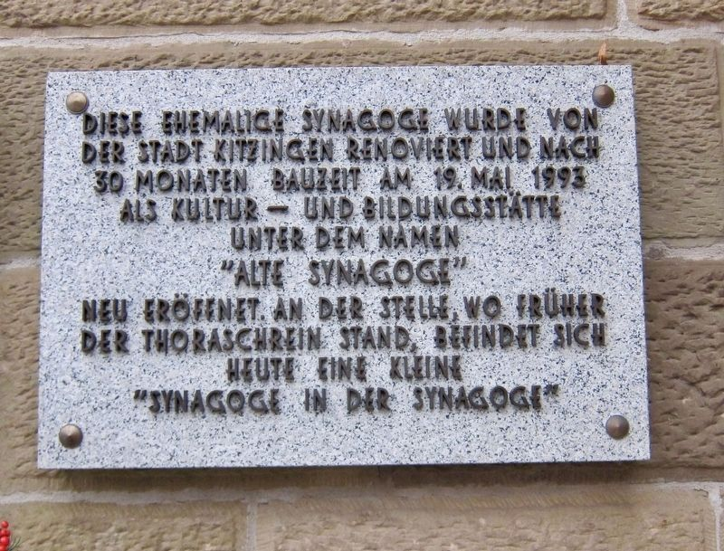 Former Synagogue Marker - second panel image, Touch for more information