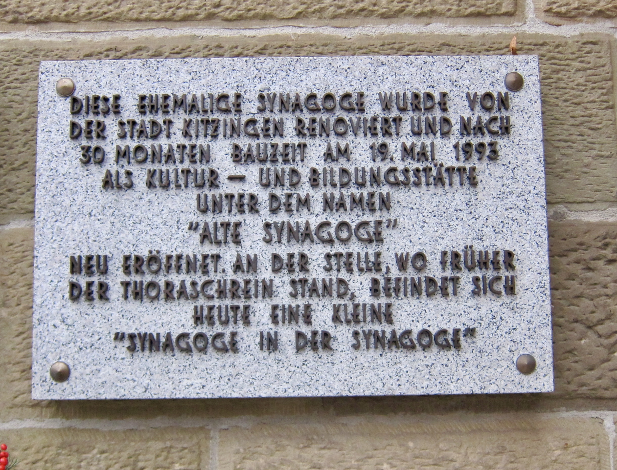 Former Synagogue Marker - second panel