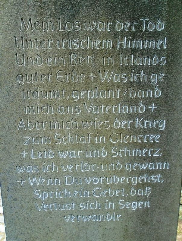 Stan O'Brien German Poem in the German Military Cemetery, Glencree image. Click for full size.
