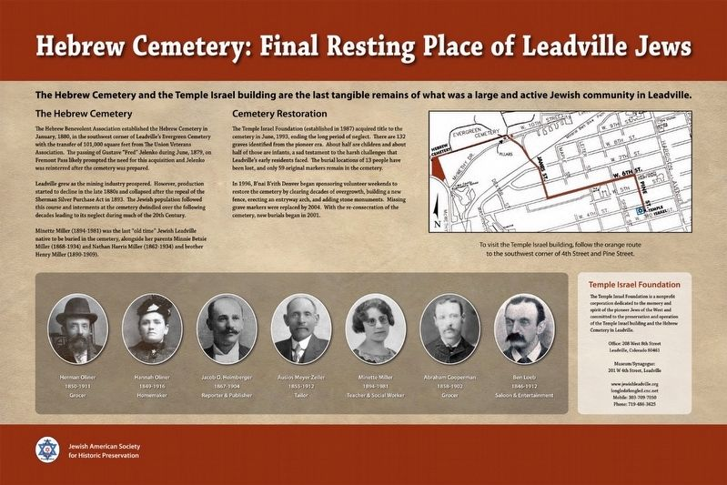Hebrew Cemetery: Final Resting Place of Leadville Jews Marker image. Click for full size.