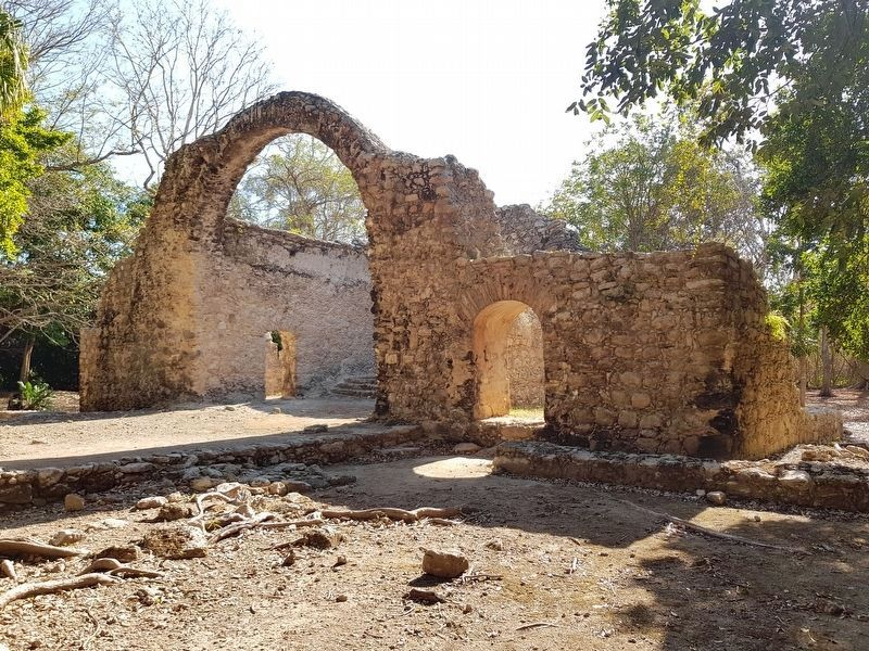 The 16th century Spanish chapel remains at the Oxtankah Archaeological Site image. Click for full size.