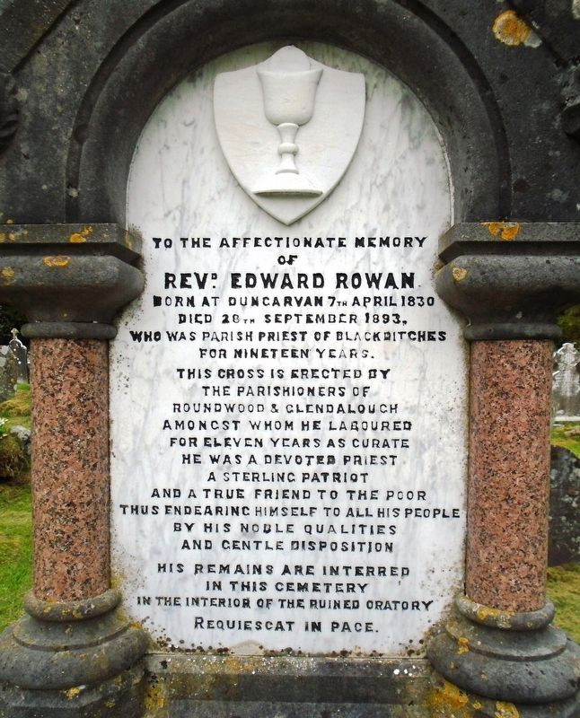 Rev<sup><u>d</u></sup> Edward Rowan Memorial Marker image. Click for full size.