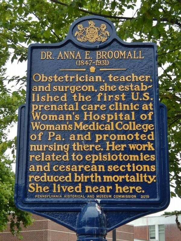 Dr. Anna E. Broomall Marker image. Click for full size.