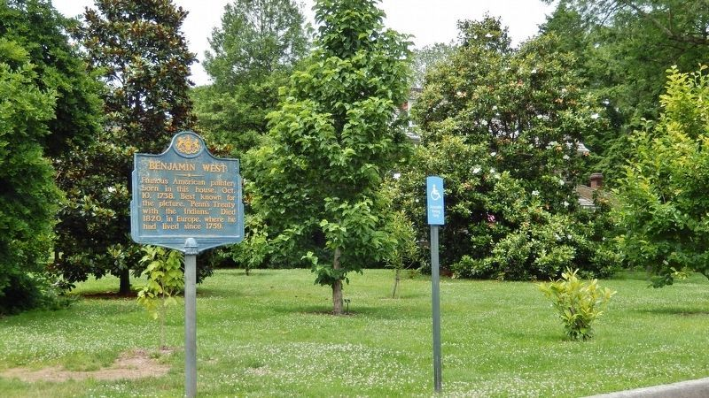 Benjamin West Marker (<i>wide view • Benjamin West House in background, obscured by trees</i>) image. Click for full size.