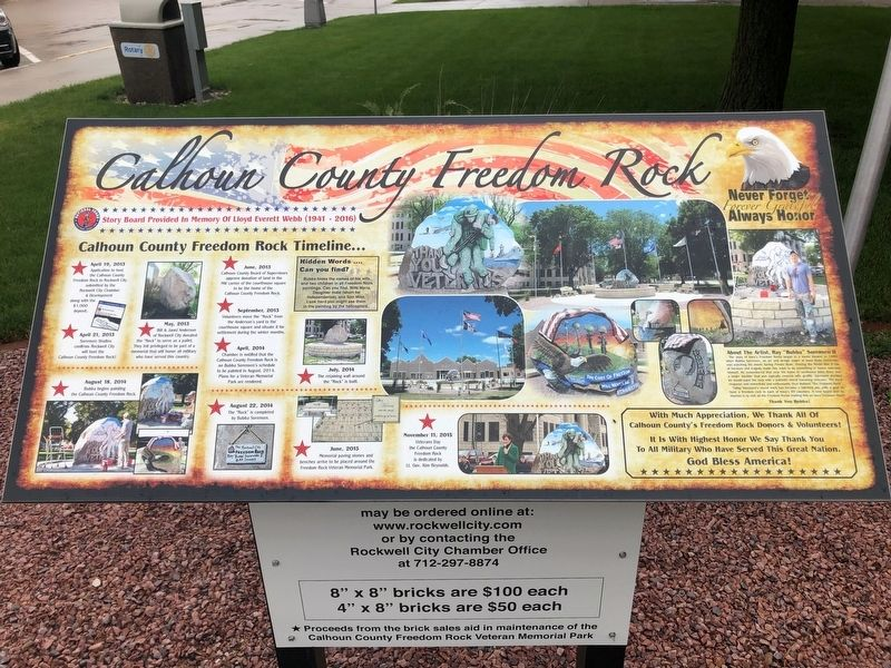 Rockwell City Freedom Rock Veterans Memorial image. Click for full size.