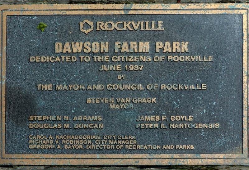 Dedication Plaque<br>Dawson's Farm Park, 1987 image. Click for full size.