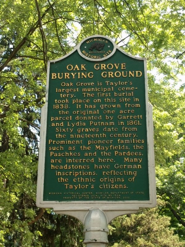 Oak Grove Burying Ground Marker image. Click for full size.