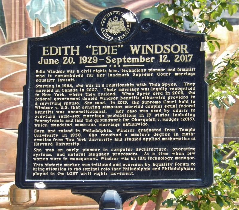 "Edith ""Edie"" Windsor Marker image. Click for full size."