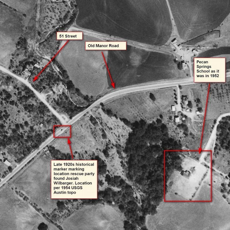 1952 aerial photograph of Pecan Springs School image. Click for full size.