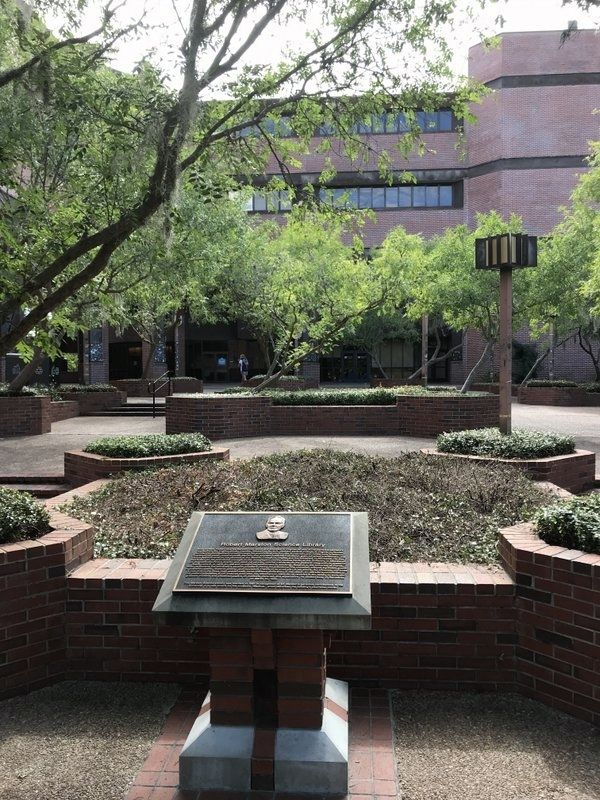 Robert Marston Science Library Marker in front of library image. Click for full size.