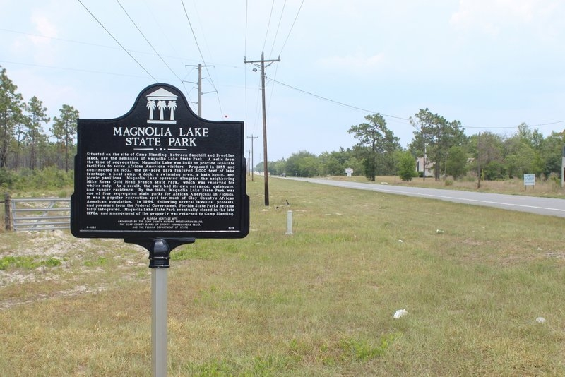 Magnolia Lake State Park Marker looking north on FL 21