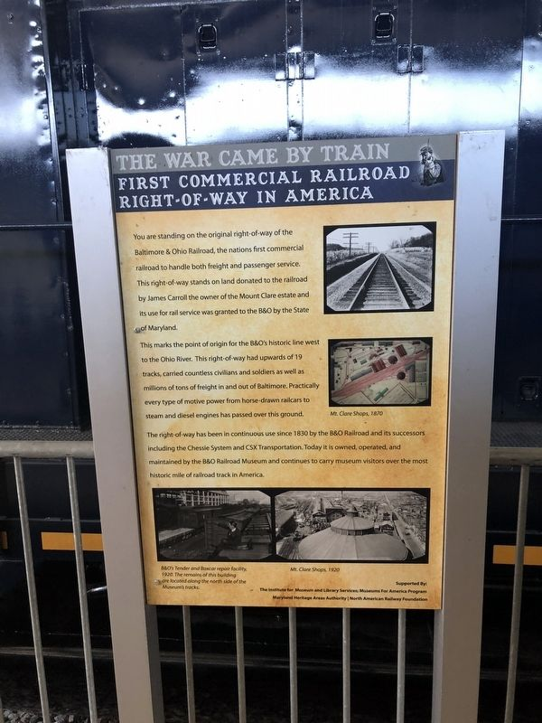 First Commercial Railroad Right-of-Way in America Marker image. Click for full size.