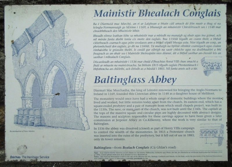 Mainistir Bhealach Conglais / Baltinglass Abbey Marker image. Click for full size.