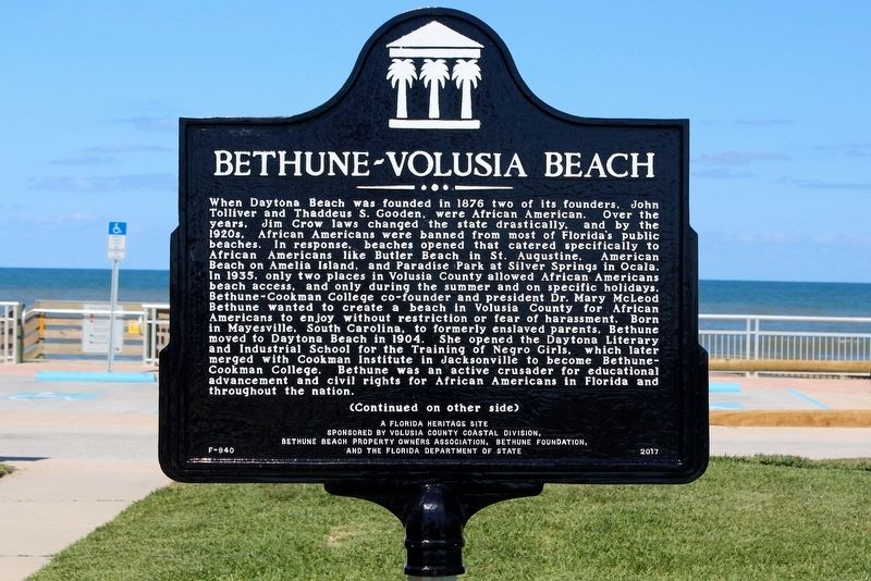 Bethune-Volusia Beach Marker Side 1 image. Click for full size.