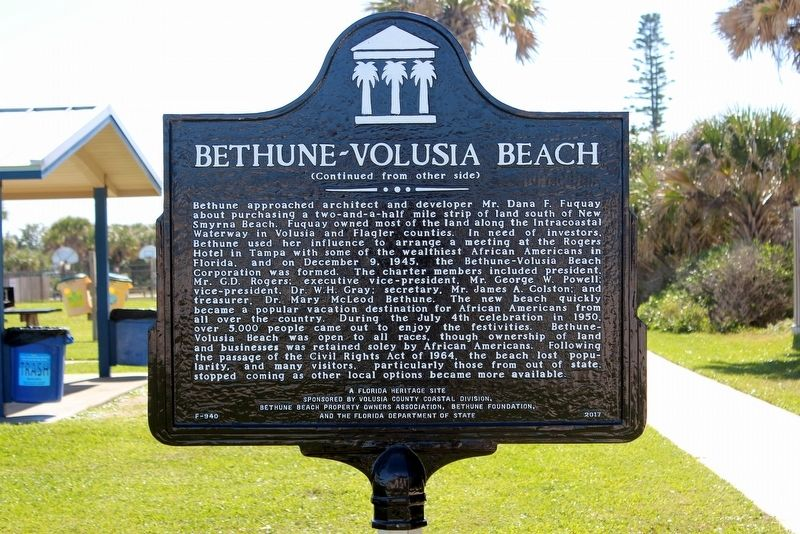 Bethune-Volusia Beach Marker Side 2 image, Touch for more information