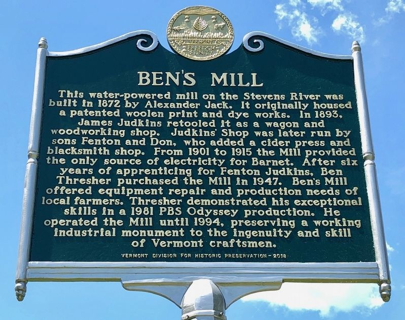 Ben's Mill Marker image. Click for full size.