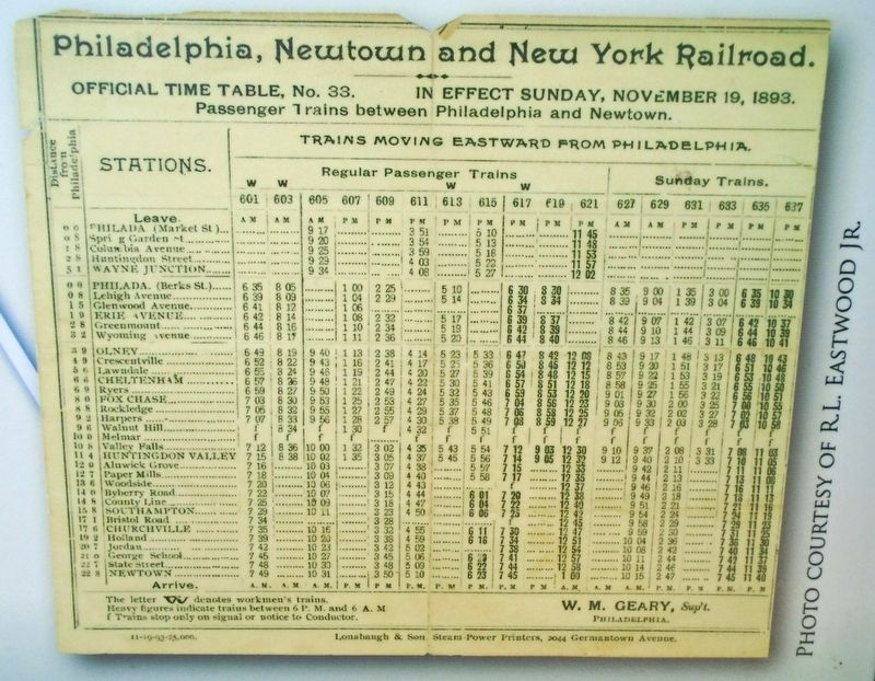 1893 Timetable on All Aboard Marker image. Click for full size.